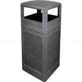"Imprezza P42SQDTBGNT Dome Lid Trash Can - 42 Gallon Capacity - 18 1/2"" Sq. x 41 3/4"" H - Black Granite in Color"