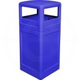 """Imprezza P42SQDTBLU Dome Lid Trash Can - 42 Gallon Capacity - 18 1/2"""" Sq. x 41 3/4"""" H - Blue in Color"""