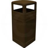 "Imprezza P42SQDTBRO Dome Lid Trash Can - 42 Gallon Capacity - 18 1/2"" Sq. x 41 3/4"" H - Brown in Color"