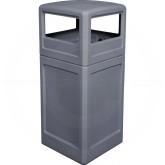 """Imprezza P42SQDTGRA Dome Lid Trash Can - 42 Gallon Capacity - 18 1/2"""" Sq. x 41 3/4"""" H - Gray in Color"""