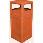 "Imprezza P42SQDTORG Dome Lid Trash Can - 42 Gallon Capacity - 18 1/2"" Sq. x 41 3/4"" H - Orange in Color"