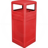 "Imprezza P42SQDTRED Dome Lid Trash Can - 42 Gallon Capacity - 18 1/2"" Sq. x 41 3/4"" H - Red in Color"