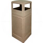 """Imprezza P42SQDTRVRSTN Dome Lid Trash Can - 42 Gallon Capacity - 18 1/2"""" Sq. x 41 3/4"""" H - Riverstone in Color"""