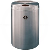 "Glaro PC2032SA Recycle Pro 2 Recycling Can with Paper Slot and Round Opening - 33 Gallon Capacity - 20"" Dia. x 31"" H - Satin Aluminum"