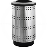 "Witt Industries PC35P-SP1-FT Paramount Collection Perforated Receptacle with Flat Top Lid - 35 Gallon Capacity - 18 1/2"" Dia. x 33 3/4"" H - Stainless Steel in Color"