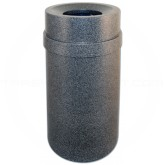 "Imprezza PRFT35BGNT Carrara Funnel Top Trash Can - 35 Gallon Capacity - 20 7/8"" Dia. x 34 1/2"" H - Black Granite in Color"