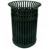 "Witt Industries Queen City Metal Slatted Waste Receptacle - 36 Gallon Capacity - 28 1/4"" Dia. x 39"" H - Black in Color"