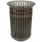 "Witt Industries Queen City Metal Slatted Waste Receptacle - 36 Gallon Capacity - 28 1/4"" Dia. x 39"" H - Brown in Color"