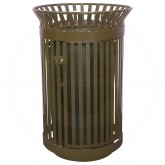 "Witt Industries Queen City Metal Slatted Waste Receptacle with Gate - 36 Gallon Capacity - 28 1/4"" Dia. x 39"" H - Brown in Color"
