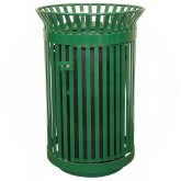 "Witt Industries Queen City Metal Slatted Waste Receptacle with Gate - 36 Gallon Capacity - 28 1/4"" Dia. x 39"" H - Green in Color"