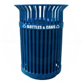 "Witt Industries QCR36-FTR Queen City Recycling Receptacle with Flat Top Lid - 36 Gallon Capacity - 28 1/4"" Dia. x 39"" H - Blue in Color"