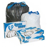 Pitt Plastics DT33K 20-33 Gallon Quick Draw Drawstring Can Liners - Black in Color - 33 x 39 - 1 Mil - 150 per case - Interleaved