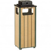 "Rubbermaid / United Receptacle R14WU50 Ash/Trash Weather Urn - 12 Gallon Capacity - 13 1/2"" Sq. x 32"" H - Empire Green with Perma-Wood Slats"