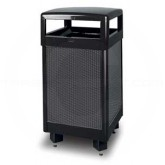 "Rubbermaid R36HT-500 Hinged Top Side Opening Waste Receptacle - 36 Gallon Capacity - 21"" Sq. x 40"" H - Black with Anthracite Perforated Steel Panels - Thumbnail Image"
