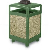 "Rubbermaid / United Receptacle R48HTWU Aspen Series Waste Receptacle with Hinged Top and Weather Urn - 48 Gallon Capacity - 26"" Sq. x 43"" H - Thumbnail Image"