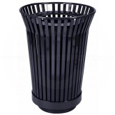 "Witt Industries RC2410-FT-BK River City Waste Receptacle with Flat Top Lid - 24 gallon capacity - 23"" Dia. x 32 1/4"" H - Black in Color"