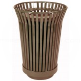 """Witt Industries RC2410-FT-BN River City Waste Receptacle with Flat Top Lid - 24 gallon capacity - 23"""" Dia. x 32 1/4"""" H - Brown in Color"""