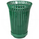 "Witt Industries RC2410-FT-GN River City Waste Receptacle with Flat Top Lid - 24 gallon capacity - 23"" Dia. x 32 1/4"" H - Green in Color"