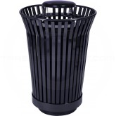 """Witt Industries RC2410-RC-BK River City Waste Receptacle with Rain Cap Lid - 24 gallon capacity - 23"""" Dia. x 40 1/4"""" H - Black in Color"""