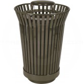 "Witt Industries RC2410-RC-BN River City Waste Receptacle with Rain Cap Lid - 24 gallon capacity - 23"" Dia. x 40 1/4"" H - Brown in Color"