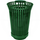 "Witt Industries RC2410-RC-GN River City Waste Receptacle with Rain Cap Lid - 24 gallon capacity - 23"" Dia. x 40 1/4"" H - Green in Color"