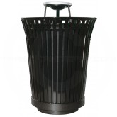 "Witt Industries RC3610-AT-BK River City Waste Receptacle with Ash Top Lid - 36 gallon capacity - 28 1/4"" Dia. x 42 1/4"" H - Black in Color"