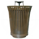 "Witt Industries RC3610-AT-BN River City Waste Receptacle with Ash Top Lid - 36 gallon capacity - 28 1/4"" Dia. x 42 1/4"" H - Brown in Color"