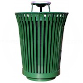 "Witt Industries RC3610-AT-GN River City Waste Receptacle with Ash Top Lid - 36 gallon capacity - 28 1/4"" Dia. x 42 1/4"" H - Green in Color"