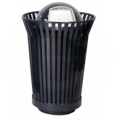 "Witt Industries RC3610-DT-BK River City Waste Receptacle with Dome Top Lid - 36 gallon capacity - 28 1/4"" Dia. x 43 1/2"" H - Black in Color"