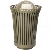 """Witt Industries RC3610-DT-BN River City Waste Receptacle with Dome Top Lid - 36 gallon capacity - 28 1/4"""" Dia. x 43 1/2"""" H - Brown in Color"""