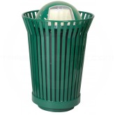 "Witt Industries RC3610-DT-GN River City Waste Receptacle with Dome Top Lid - 36 gallon capacity - 28 1/4"" Dia. x 43 1/2"" H - Green in Color"