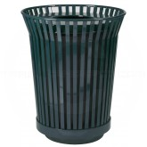 """Witt Industries RC3610-FT-BK River City Waste Receptacle with Flat Top Lid - 36 gallon capacity - 28 1/4"""" Dia. x 34.9"""" H - Black in Color"""
