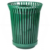 "Witt Industries RC3610-FT-GN River City Waste Receptacle with Flat Top Lid - 36 gallon capacity - 28 1/4"" Dia. x 34.9"" H - Green in Color"