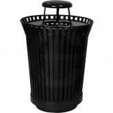 "Witt Industries RC3610-RC-BK River City Waste Receptacle with Rain Cap Lid - 36 gallon capacity - 28 1/4"" Dia. x 42 1/4"" H - Black in Color"