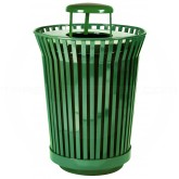 "Witt Industries RC3610-RC-GN River City Waste Receptacle with Rain Cap Lid - 36 gallon capacity - 28 1/4"" Dia. x 42 1/4"" H - Green in Color"