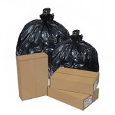 Pitt Plastics EC243209K 12-16 Gallon EcoStrong 70% Recycled Content Low Density Trash Bags - Black in Color - 24 x 32 - .9 Mil - Star perf roll. 500/cs - 20 rolls of 25