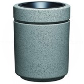 "Witt Industries RLC-2636AT Poly Lite Crete Round Open Top Receptacle with Ash Urn - 60 Gallon Capacity - 26"" Dia. x 36"" H - Graystone, Whitestone or Sandstone"