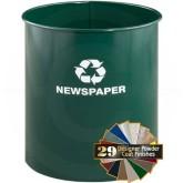 "Glaro RO1318HG RecyclePro Recycling Wastebasket - 12 Gallon Capacity - 14"" Dia. x 18"" H - Hunter Green in Color"