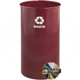 """Glaro RO1326BY RecyclePro Recycling Wastebasket - 18 Gallon Capacity - 14"""" Dia. x 27"""" H - Burgundy in color"""