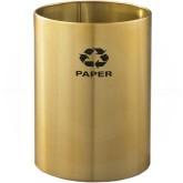 "Glaro RO1523BE RecyclePro Recycling Wastebasket - 18 Gallon Capacity - 15"" Dia. x 23"" H - Satin Brass"