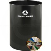 "Glaro RO1829BK RecyclePro Recycling Wastebasket - 36Gallon Capacity - 19"" Dia. x 29"" H - Black in Color"
