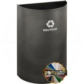 "Glaro RO1899SV RecyclePro Recycling Half Round Wastebasket - 16 Gallon Capacity - 18"" W x 9"" D x 29"" H - Silver Vein in Color"