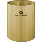 "Glaro RO2029BE RecyclePro Recycling Wastebasket - 39 Gallon Capacity - 20"" Dia. x 29"" H - Satin Brass"