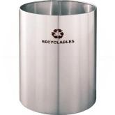 """Glaro RO2029SA RecyclePro Recycling Wastebasket - 39 Gallon Capacity - 20"""" Dia. x 29"""" H - Satin Aluminum"""