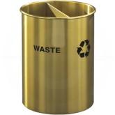 "Glaro RO266BE RecyclePro Dual Purpose Recycling Wastebasket - 5 Gallon Capacity - 10"" Dia. x 15"" H - Satin Brass"