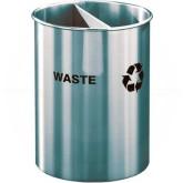 "Glaro RO266SA RecyclePro Dual Purpose Recycling Wastebasket - 5 Gallon Capacity - 10"" Dia. x 15"" H - Satin Aluminum"