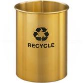"Glaro RO66BE RecyclePro Recycling Wastebasket - 5 Gallon Capacity - 10"" Dia. x 15"" H - Satin Brass"