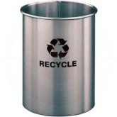 """Glaro RO66SA RecyclePro Recycling Wastebasket - 5 Gallon Capacity - 10"""" Dia. x 15"""" H - Satin Aluminum"""