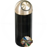 "Glaro S1241 Mount Everest Dome Top Garbage Can - 8 Gallon Capacity - 12"" Dia. x 30"" H - Satin Brass Cover"