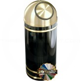 "Glaro S1255 Monte Carlo Wastemaster Dome Top Garbage Can - 8 Gallon Capacity - 12"" Dia. x 30"" H - Satin Brass Accents"
